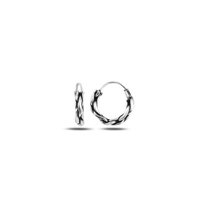 Resim 12mm Oksitli Halka Gümüş Küpe
