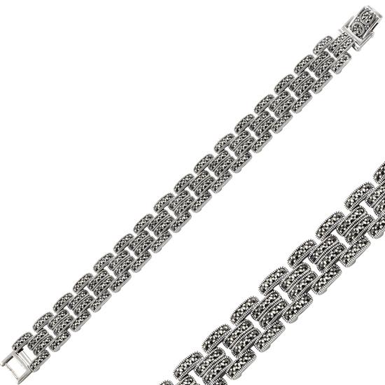 Ürün resmi: Markazit Taşlı Gümüş Bayan Bileklik