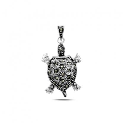 Resim Markazit Taşlı Hareketli Deniz Kaplumbağası Gümüş Bayan Kolye Ucu