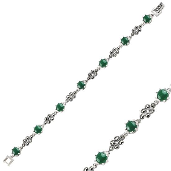 Ürün resmi: Yeşil Akik Markazit & Doğal Taşlı Gümüş Bayan Bileklik