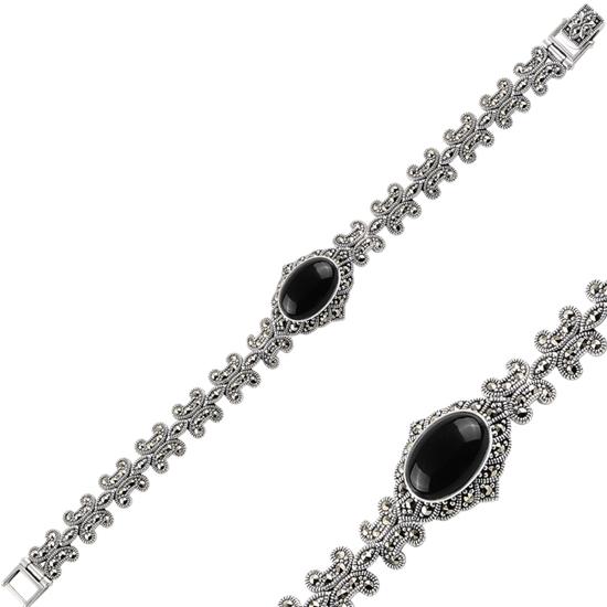 Ürün resmi: Oniks (Siyah Doğal Taş) Markazit & Doğal Taşlı Gümüş Bayan Bileklik