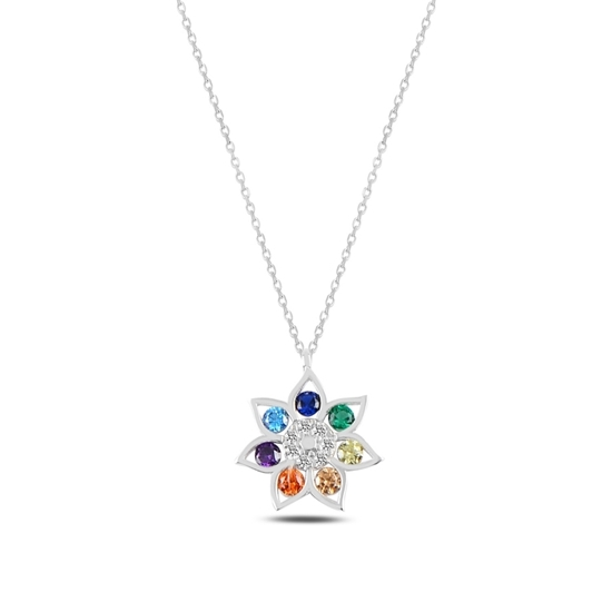 Ürün resmi: Rodyum Kaplama Çiçek Renkli Zirkon Taşlı Gümüş Bayan Kolye