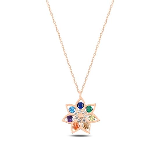 Ürün resmi: Rose Kaplama Çiçek Renkli Zirkon Taşlı Gümüş Bayan Kolye