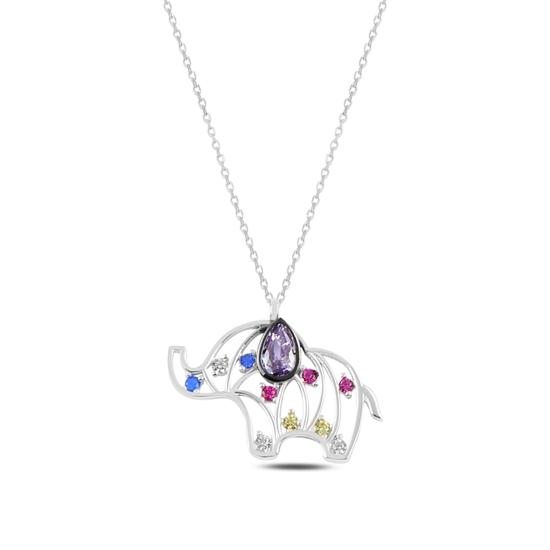 Ürün resmi: Rodyum Kaplama Fil Renkli Zirkon Taşlı Gümüş Bayan Kolye