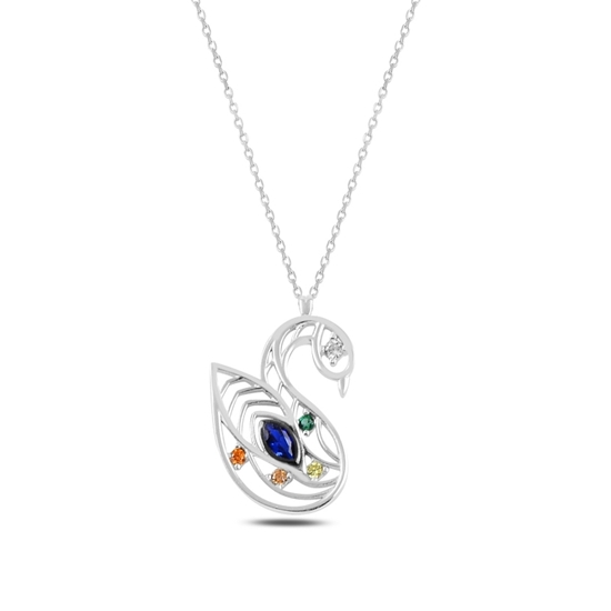 Ürün resmi: Rodyum Kaplama Kuğu Renkli Zirkon Taşlı Gümüş Bayan Kolye
