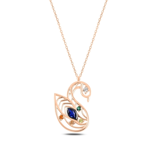 Ürün resmi: Rose Kaplama Kuğu Renkli Zirkon Taşlı Gümüş Bayan Kolye