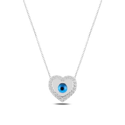Resim Rodyum Kaplama Kalp Ve Göz & Zirkon Taşlı Gümüş Bayan Kolye