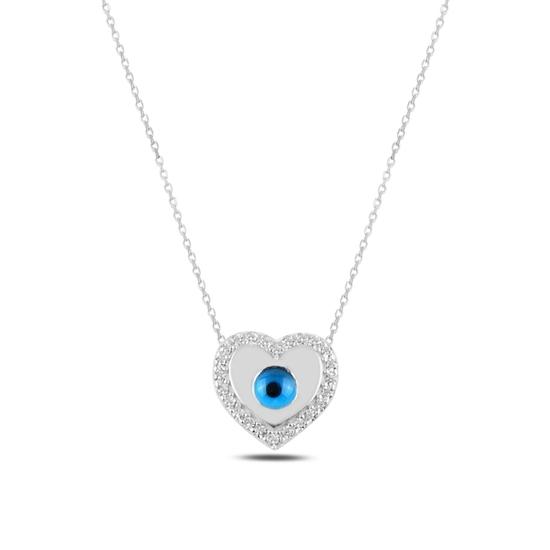 Ürün resmi: Rodyum Kaplama Kalp Ve Göz & Zirkon Taşlı Gümüş Bayan Kolye