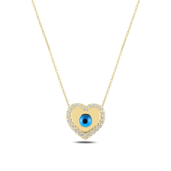 Ürün resmi: Altın Kaplama Kalp Ve Göz & Zirkon Taşlı Gümüş Bayan Kolye