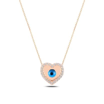 Resim Rose Kaplama Kalp Ve Göz & Zirkon Taşlı Gümüş Bayan Kolye
