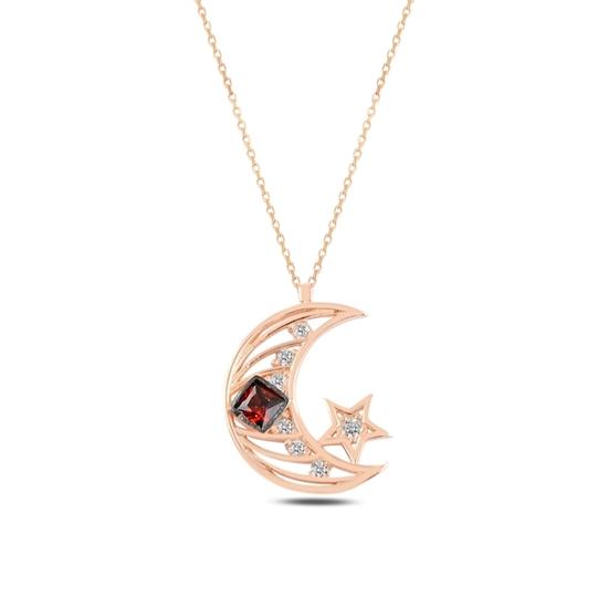 Ürün resmi: Rose Kaplama Ay Yıldız Zirkon Taşlı Gümüş Bayan Kolye
