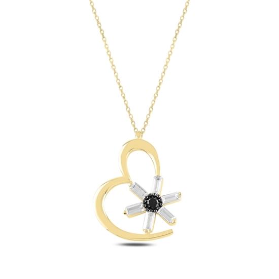 Ürün resmi: Altın Kaplama Kalp Baget Zirkon Taşlı Gümüş Bayan Kolye