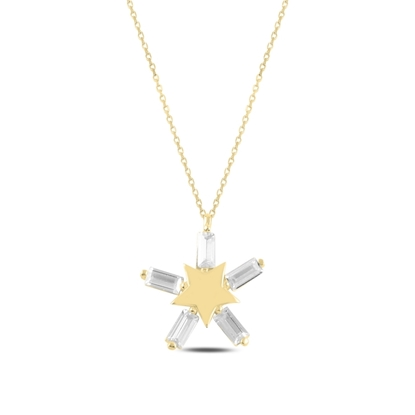 Resim Altın Kaplama Yıldız Baget Zirkon Taşlı Gümüş Bayan Kolye