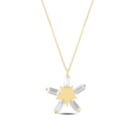 Ürün resmi: Altın Kaplama Yıldız Baget Zirkon Taşlı Gümüş Bayan Kolye