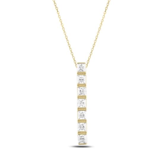 Ürün resmi: Altın Kaplama Çubuk Zirkon Taşlı Gümüş Bayan Kolye