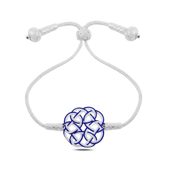 Ürün resmi: Mavi Kazaziye El Örmesi Gümüş Bayan Asansörlü Bileklik