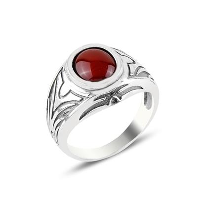Resim Oval Kırmızı Akik Taşlı Gümüş Erkek Yüzük