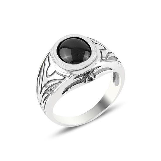 Ürün resmi: Oval Oniks Taşlı Gümüş Erkek Yüzük