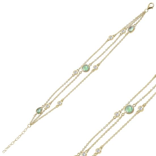 Ürün resmi: Zümrüt Zirkon (Yeşil) Zirkon Taşlı 3 Sıra Gümüş Bayan Bileklik