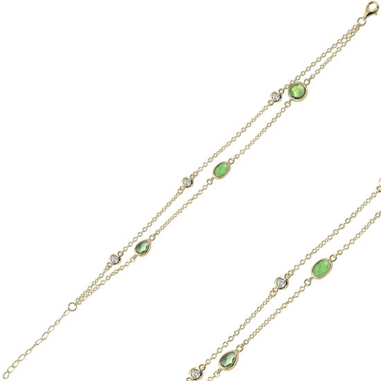 Ürün resmi: Altın Kaplama Zümrüt Zirkon (Yeşil) Zirkon Taşlı 2 Sıra Gümüş Bayan Bileklik