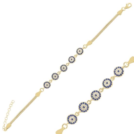 Ürün resmi: Altın Kaplama Sosyete Gözü Zirkon Taşlı Küp Zincirli Gümüş Bayan Bileklik