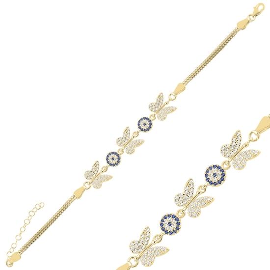 Ürün resmi: Altın Kaplama Kelebek & Göz Zirkon Taşlı Küp Zincirli Gümüş Bayan Bileklik