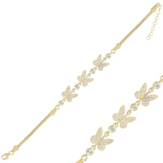 Ürün resmi: Altın Kaplama Kelebek Zirkon Taşlı Küp Zincirli Gümüş Bayan Bileklik