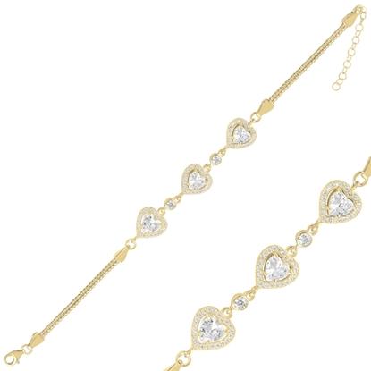 Resim Altın Kaplama Kalp Zirkon Taşlı Küp Zincirli Gümüş Bayan Bileklik