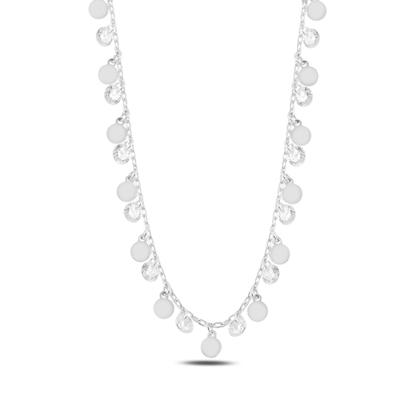 Resim Rodyum Kaplama Sallantılı Pul & Zirkon Taşlı Gümüş Bayan Kolye