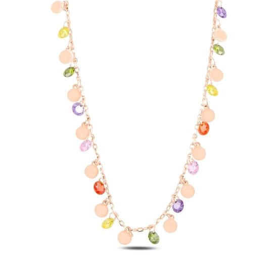 Ürün resmi: Rose Kaplama Sallantılı Pul & Zirkon Taşlı Gümüş Bayan Kolye