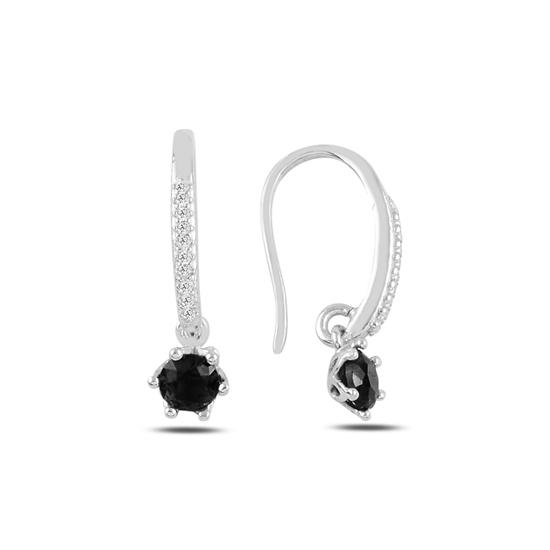 Ürün resmi: Rodyum Kaplama Siyah Zirkon Zirkon Taşlı Gümüş Küpe