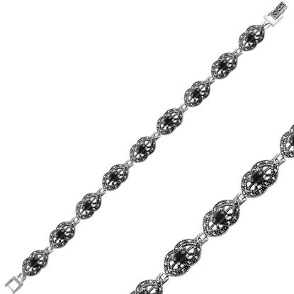 Resim Oniks (Siyah Doğal Taş) Markazit & Doğal Taşlı Gümüş Bayan Bileklik