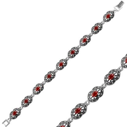 Resim Kırmızı Akik Markazit & Doğal Taşlı Gümüş Bayan Bileklik