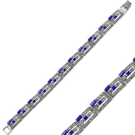 Ürün resmi: Lapis Lazuli Markazit & Doğal Taşlı Gümüş Bayan Bileklik