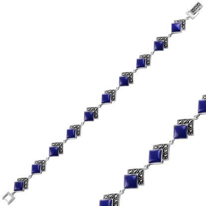 Resim Lapis Lazuli Markazit & Doğal Taşlı Gümüş Bayan Bileklik