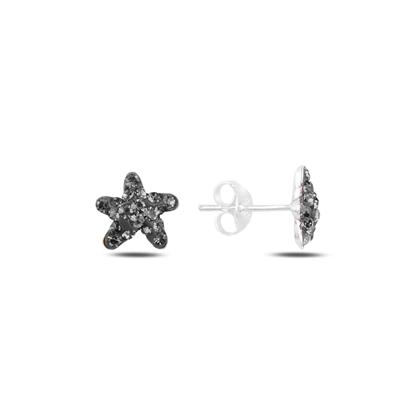Resim Deniz Yıldızı Kristal Taşlı Gümüş Küpe