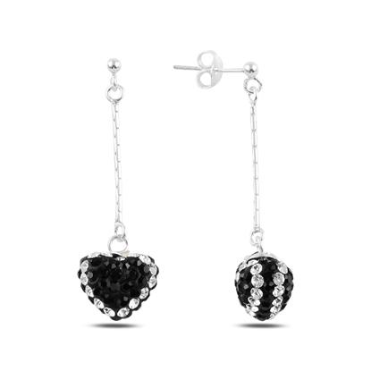 Resim Sallantılı Kalp Kristal Taşlı Gümüş Küpe