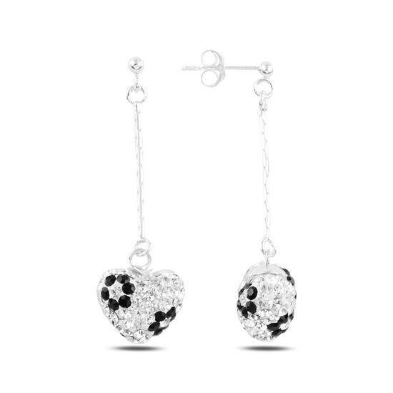 Ürün resmi: Sallantılı Kalp Kristal Taşlı Gümüş Küpe