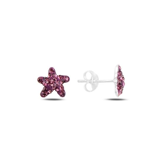 Ürün resmi: Deniz Yıldızı Kristal Taşlı Gümüş Küpe