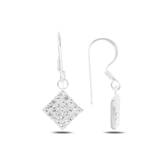 Ürün resmi: Sallantılı Kristal Taşlı Gümüş Küpe
