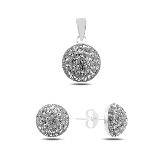 Ürün resmi: Yarım Top Kristal Taşlı Gümüş Bayan Set