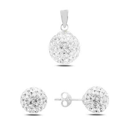Resim Top Kristal Taşlı Gümüş Bayan Set