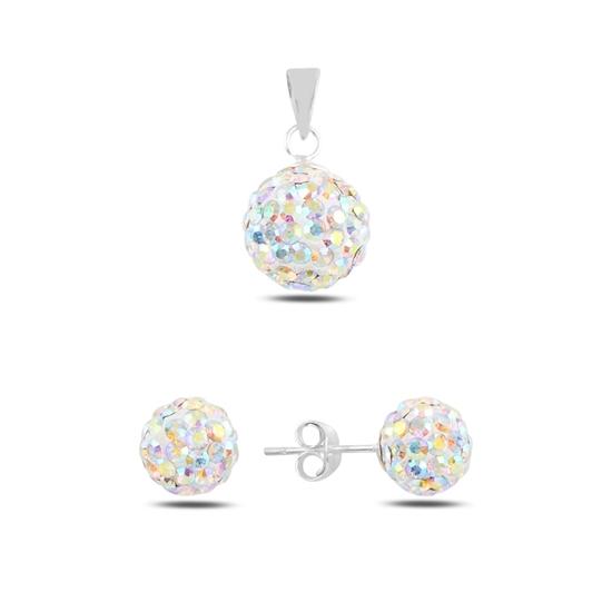 Ürün resmi: Top Kristal Taşlı Gümüş Bayan Set