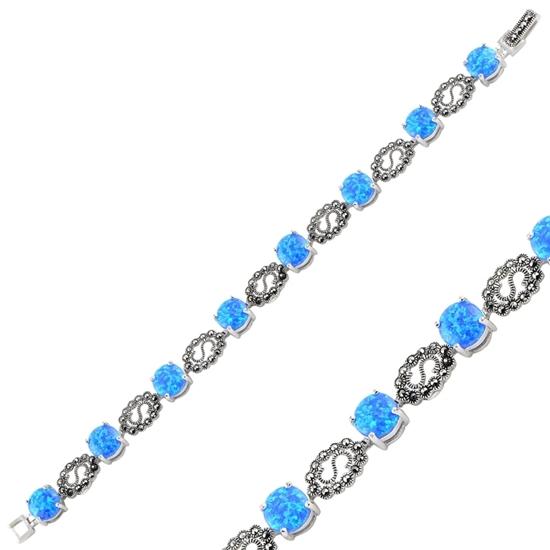 Ürün resmi: Opal & Markazit Taşlı Gümüş Bayan Bileklik