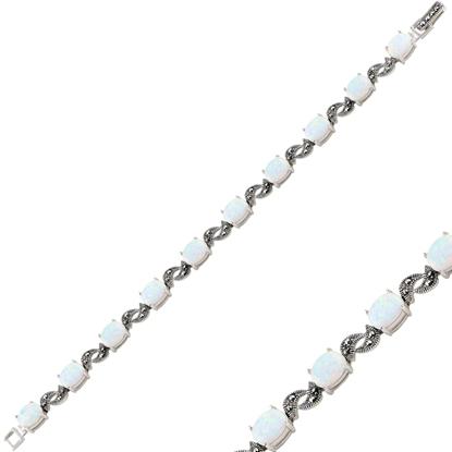 Resim Opal & Markazit Taşlı Gümüş Bayan Bileklik