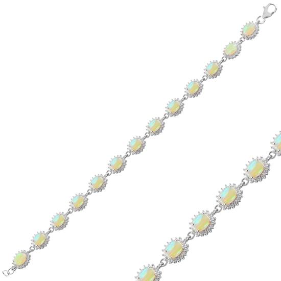 Ürün resmi: Rodyum Kaplama Opal & Zirkon Taşlı Gümüş Bayan Bileklik