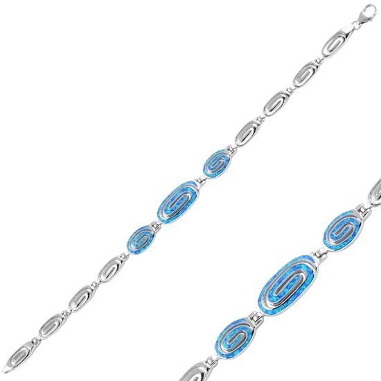 Ürün resmi: Rodyum Kaplama Opal Taşlı Gümüş Bayan Bileklik