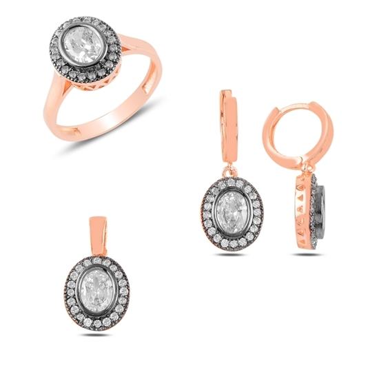 Ürün resmi: Rose Kaplama Zirkon Taşlı Gümüş Bayan Set