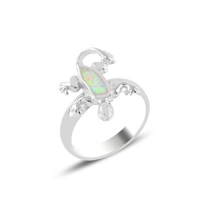 Resim Rodyum Kaplama Kertenkele Opal Taşlı Gümüş Bayan Yüzük