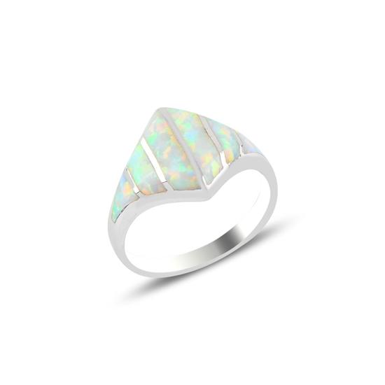 Ürün resmi: Rodyum Kaplama Opal Taşlı Gümüş Bayan Yüzük